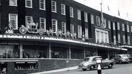 Bonds in Norwich decorated for the Coronation in 1953. Picture: Archant Library