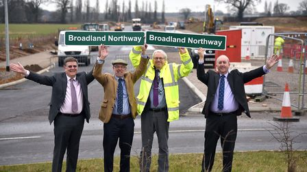 The Northern Distributor Road (NDR) was renamed the Broadland Northway shortly before opening. Pictu