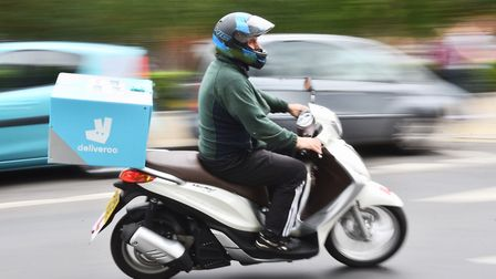 Deliveroo motorbike riders in Norwich. Picture : ANTONY KELLY