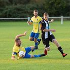 Swaffham Town's Sam Garner rounding his man in a recent game against Woodbridge Picture: EDDIE DEANE