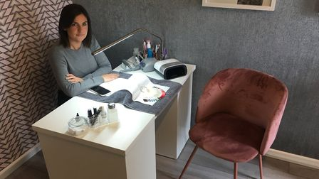 Jenna Deacon at her nail salon, Nails at No. 8, in Watton, ready for business, opening September 16