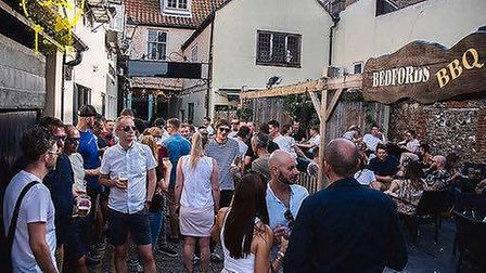 Guests at the Norwich Garden Party at Bedfords Bar in August. Picture Al Pulford Photography.