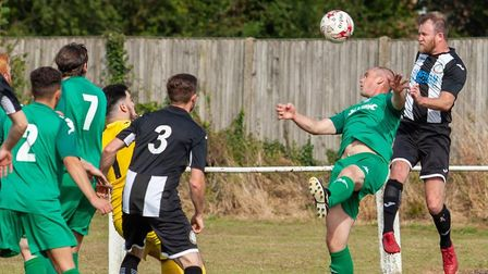 Dean Miller heading home at the back post for the Pedlars' second goal in their 4-2 win over Gorlest