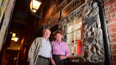 John Newstead and wife Janie in 2015, at the period pharmacy within the Time and Tide museum in Grea