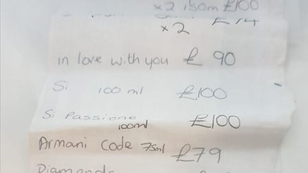 A woman wanted for a string of thefts has been caught by police who found her with a shopping list o