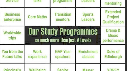 The study programmes cover work experience, volunteering in the community, Sixth Form committees, mo