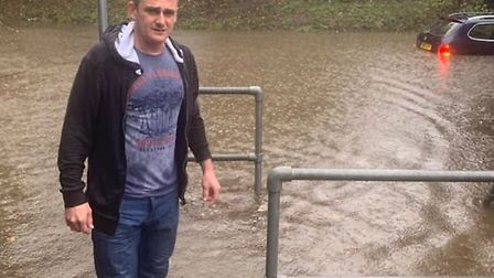 Anthony Murray rescued a man from his car after it became submerged in water . Picture: Kim Bennett