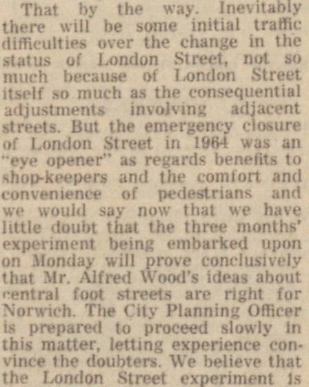 How the pedestrianisation of London Street was reported back in 1967. Picture: Local Recall Project