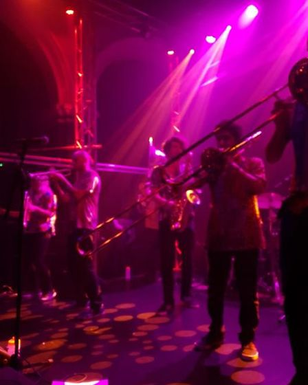 The Brass Funkeys peforming at the Arts Centre in Norwich. Picture David Warman.