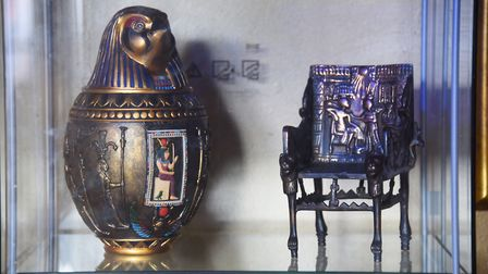 A couple of copies of Egyptian artefacts from Tutankhamun's tomb on display in Susan Allen's Tutankh