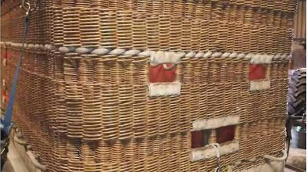 The hot air balloon basket in which a passenger was seriously injured when his foot got stuck in the