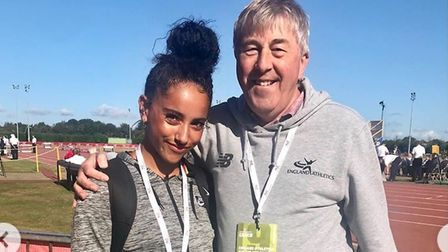 Serena Grace, 16, with coach Mike Utting, at the International Federation for Catholic Schools Games