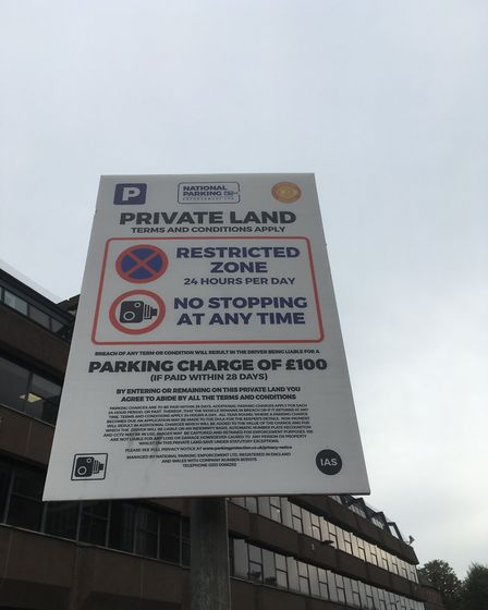 Parking sign at Sentinel House in Norwich. Picture: David Hannant