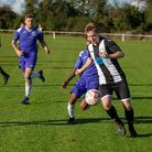 Nick Castellan pushing forward for Swaffham Town Picture: EDDIE DEANE