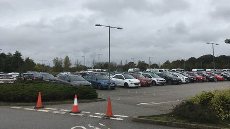 A number of caravans parked on Harford Park and Ride near Norwich. Picture: David Hannant