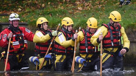 Mundesley Inshore Lifeboat team volunteers in wade training at Horstead Mill. Picture: DENISE BRADLE