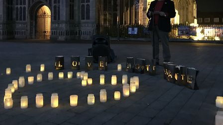 Norfolk Police and Crime Commissioner, Lorne Green, speaks at the Love not Hate vigil held outside S