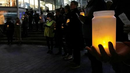 Dozens of people gathered for the Love not Hate candlelit vigil outside The Forum in Norwich. Pictur