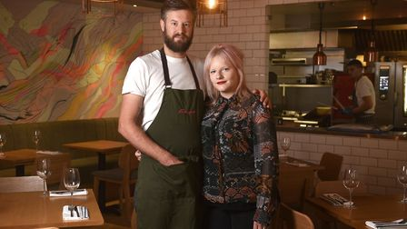 Hannah Springham and her husband Andrew Jones pictured at their restaurant, Farmyard, in Norwich. Pi