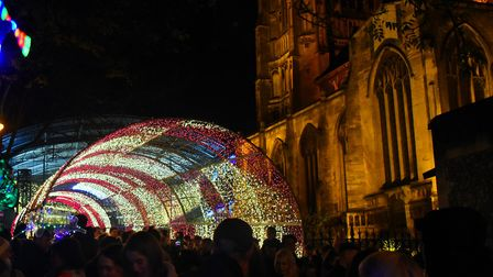 The Tunnel of Light as the Norwich Christmas lights are switched on. Picture: DENISE BRADLEY