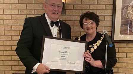 Swaffham Rotary Club president Stephen Ward with Rotary GBI president Donna Wallbank. Picture: Swaff