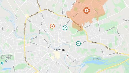 Hundreds of homes and businesses across East Anglia have been affected by two large power cuts. Pict