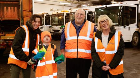 From left; Isabella McBride, Finley McBride, Peter Barnes from Serco and Councillor Alison Webb. Pic