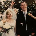 Newly-weds Sarah and Mark on June 8, 2002. They married at St Margaret's Church, Drayton Picture: F