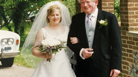 Bride Sarah with father Richard in 2002 Picture: FAMILY COLLECTION