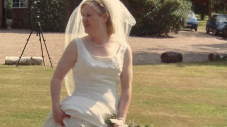 A candid picture of Sarah on her wedding day Picture: FAMILY COLLECTION