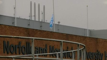 The flag at half-mast, at Norfolk and Norwich University Hospital, as a tribute to Sarah Hewitt Pic