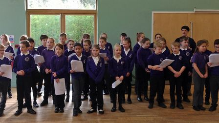 Children from Swaffham Primary Academy singing to members of the towns Wellbeing Group. Picture: Swa
