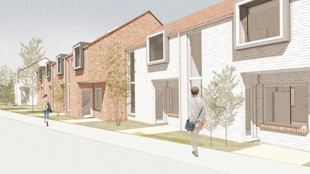 Street scene of the ten new homes being built in Attleborough. Photo: Courtesy of PR Works
