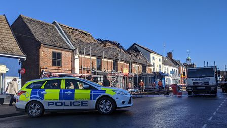 The building which housed a number of Watton businesses has been sealed off after a fire. Picture: M