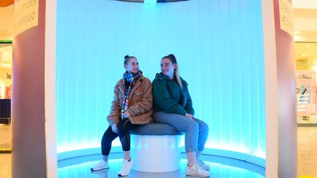 Friends Lara Webster, left, and Aisling Sibley, in the Calm House, one of the light houses at intu C