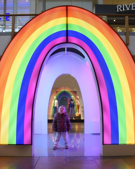 Two-year-old Lilly Simmonds in the rainbow Happy House, one of the light houses at intu Chapelfield.