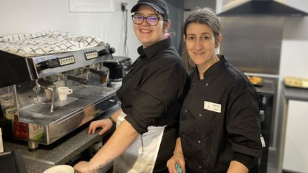 Tina Cruz (right), manager of Contrast cafe in Watton, with her daughter Ana Cruz. Photo: Emily Thom