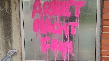 A Nazi slogan was spray-painted onto the Centre for Health and Disability Assessments building on Mo