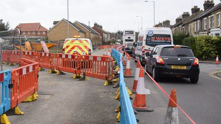 Dereham Road will be closed because of the next phase of roadworks. Picture: DENISE BRADLEY