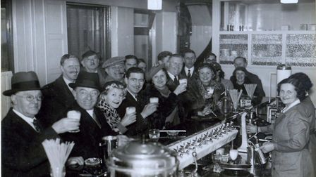 Cloverleaf Cafe when it opened in 1938. The lady behind the counter closest to the camera i