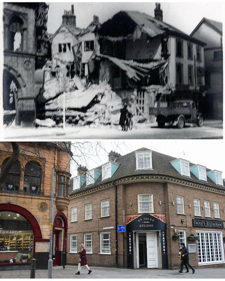 What was left of the Cloverleaf Cafe after being damaged by a bomb on April 30, 1942, and the same l