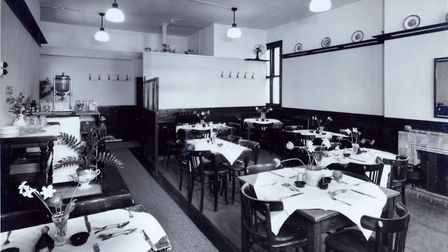 Cloverleaf Cafe upstairs restaurant in 1946 in new permanent premises in Dove Street, Norwich