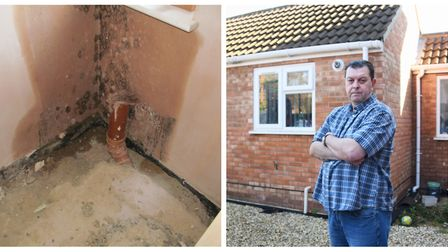 Paul Pearson's annexe was left with a leak and damp by John Miller. Photo: Submitted/Denise Bradley