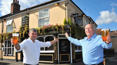 General manager Steve Fiske and owner Mike Lorenz outside The Whalebone pub in Norwich. Picture by S