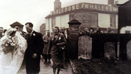 The Whalebone caught in the background of an old wedding photograph. Photo: Submitted/The Whalebone