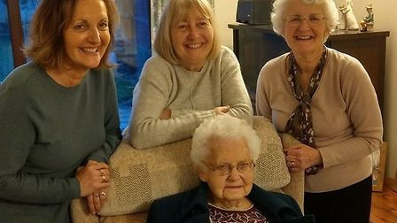 Centenarian Joan Marshall, from Norwich, with her daughters (from left) Lyn Williams Jill Barnard an