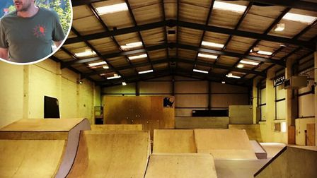 The owner of indoor skatepark Charge Unit, Andrew Biss (inset), is selling the venue. Picture: Faceb