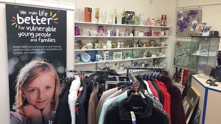The newly restocked Break charity shop in Hellesdon, which has re-opened after an arson attack. Pict