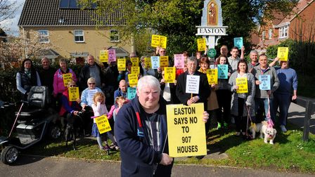 Peter Milliken, chairman of the Easton Parish Council, pictured in 2016 protesting with residents ag