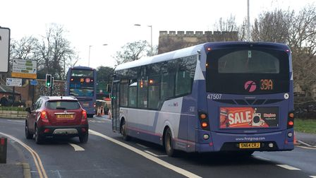 The bus lane in Rose Lane could be moved. Pic: Archant.